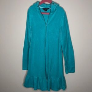 Girls turquoise Lands End Terry zip swim cover up